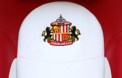 A close up of the Sunderland crest on a seat during the Sky Bet Championship match at the Stadium of Light, Sunderland