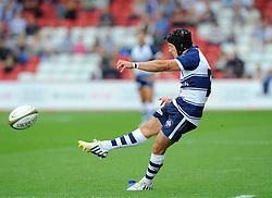 Bristol Fly-Half Matthew Morgan kicks for goal  - Photo mandatory by-line: Joe Meredith/JMP - Mobile: 07966 386802 - 21/09/2014 - SPORT - FOOTBALL - Bristol - Ashton Gate - Bristol Rugby v Cornish Pirates - Greene King IPA Championship