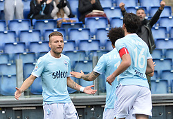 March 31, 2018 - Rome, Lazio, Italy - Ciro Immobile celebrates after score goal 1-0 during the Italian Serie A football match between S.S. Lazio and Benevento at the Olympic Stadium in Rome, on march 31, 2018. (Credit Image: © Silvia Lore/NurPhoto via ZUMA Press)