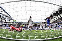 Chelsea's Branislav Ivanovic celebrates his side's opening goal, scored by Oscar (not pictured)<br /> <br /> Photographer Craig Mercer/CameraSport<br /> <br /> Football - Barclays Premiership - Chelsea v Swansea City - Saturday 8th August 2015 - Stamford Bridge - London<br /> <br /> © CameraSport - 43 Linden Ave. Countesthorpe. Leicester. England. LE8 5PG - Tel: +44 (0) 116 277 4147 - admin@camerasport.com - www.camerasport.com