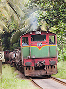 Steam train passing through Alawwa, Sri Lanka