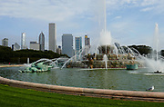 The Clarence Buckingham Memorial Fountain on Lakeshore Drive. in Chicago, Illinois, USA