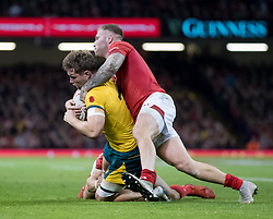 Michael Hooper of Australia under pressure from Ross Moriarty of Wales<br /> <br /> Photographer Simon King/Replay Images<br /> <br /> Under Armour Series - Wales v Australia - Saturday 10th November 2018 - Principality Stadium - Cardiff<br /> <br /> World Copyright © Replay Images . All rights reserved. info@replayimages.co.uk - http://replayimages.co.uk
