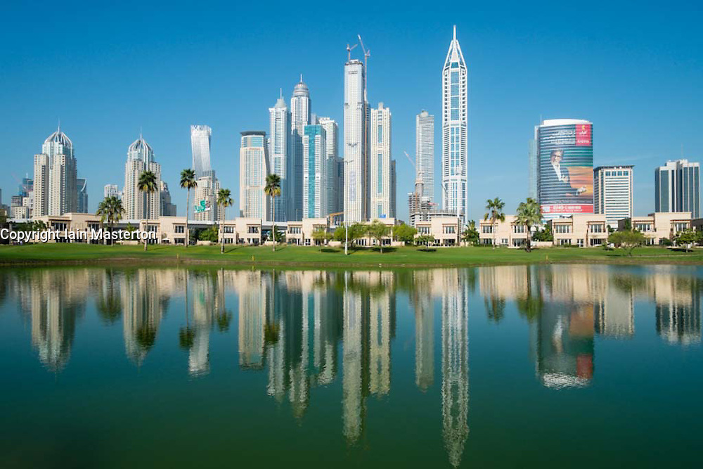 Skyline of high-rise apartment and office towers in new Dubai Marina district in United Arab Emirates