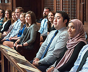 Photography ©Mara Lavitt<br /> Yale University, New Haven.<br /> March 12, 2018<br /> <br /> Yale Physician Assistant Online program white coat ceremony, Battell Chapel, Yale University.