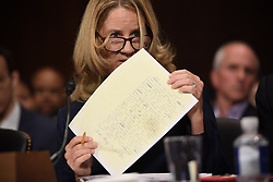 September 27, 2018 - Washington, District of Columbia, U.S. - CHRISTINE BLASEY FORD, the woman accusing Supreme Court nominee Judge Kavanaugh of sexually assaulting her at a party 36 years ago, testifies before the US Senate Judiciary Committee on Capitol Hill. (Credit Image: © Saul Loeb/Pool via ZUMA Wire)