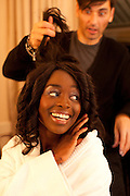 Cannes, France. May 13th 2010..French actress Aissa Maiga getting ready at the Gray d'Albion Hotel