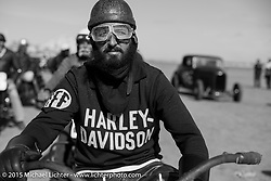 Nicholoas Toscano on his Harley-Davidson UL (in a 36 VL frame) at the Race of Gentlemen. Wildwood, NJ, USA. October 10, 2015.  Photography ©2015 Michael Lichter.