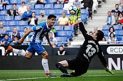 Febrero 13, 2018 - Cornellà, Barcelona, Spain ...(07) Gerard Moreno ante Andres en el primer gol del partido...Partido de La Liga entre el RCD Espanyol y el MÁLAGA CF disputado en el RCDE Stadium.  El partido ha finalizado (4-1), victoria del RCD Espanyol. (Credit Image: © Joan Gosa/Xinhua via ZUMA Wire)