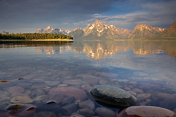 """Jackson Lake, Grand Teton Reflection, Grand Teton National Park<br /> <br /> For production prints or stock photos click the Purchase Print/License Photo Button in upper Right; for Fine Art """"Custom Prints"""" contact Daryl - 208-709-3250 or dh@greater-yellowstone.com"""