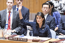 October 9, 2018 -  United Nations Ambassador Nikki Haley will resign from her role in the Trump administration, White House officials announced. PICTURED: September 11, 2017 - New York, U.S - NIKKI HALEY, United States Ambassador to the United Nations, voting at the Security Council vote on sanctions for North Korea at the United Nations in New York City. (Credit Image: © Michael Brochstein/ZUMA Wire)