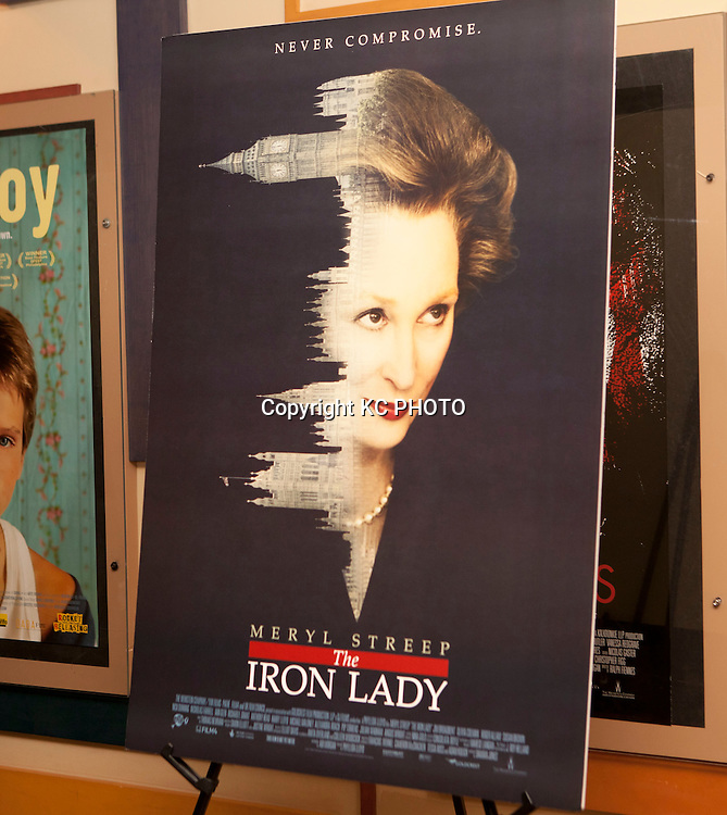 """A view of a poster of """"The Iron Lady,"""" movie at E Street Cinema on November 29, 2011 in Washington DC. Photo by Graeme Jennings/KC PHOTO"""
