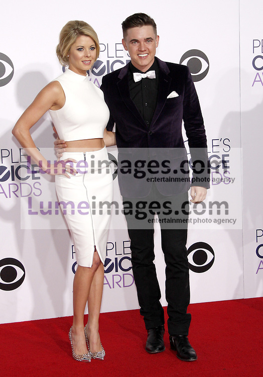 Jesse McCartney and Katie Peterson at the 41st Annual People's Choice Awards held at the Nokia L.A. Live Theatre in Los Angeles on January 7, 2015. Credit: Lumeimages.com