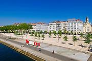 Only Lyon sign along the Rhône River, Lyon, France (UNESCO World Heritage Site)