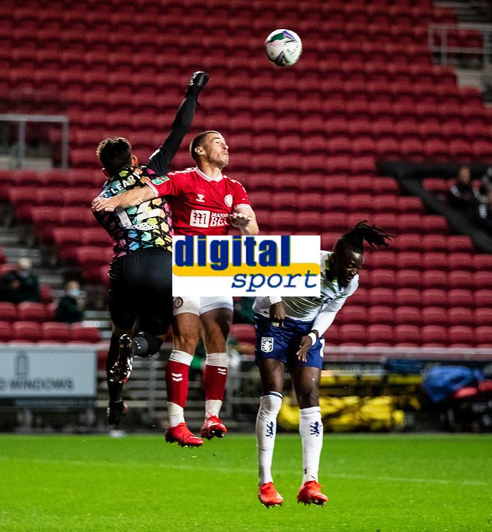 Football - 2020 / 2021 EFL Carabao Cup - Round Three - Bristol City vs  Aston Villa<br />  <br /> Max O'Leary of Bristol City punches away, at Ashton Gate.<br />  <br /> COLORSPORT/SIMON KING
