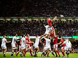 Aaron Wainwright of Wales claims the lineout<br /> <br /> Photographer Simon King/Replay Images<br /> <br /> Friendly - Wales v England - Saturday 17th August 2019 - Principality Stadium - Cardiff<br /> <br /> World Copyright © Replay Images . All rights reserved. info@replayimages.co.uk - http://replayimages.co.uk
