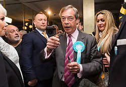 © Licensed to London News Pictures. 16/05/2019. Brentwood, Essex, UK.  Nigel Farage meets and speaks to supporters at The Brexit Party campaign event held at the Sugar Hut in Brentwood, Essex. Photo credit: Vickie Flores/LNP