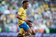 Neymar of Brazil celebrates after his goal with Paulinho during the 2018 FIFA World Cup Russia, round of 16 football match between Brazil and Mexico on July 2, 2018 at Samara Arena in Samara, Russia - Photo Thiago Bernardes / FramePhoto / ProSportsImages / DPPI
