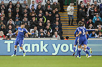 CELE - Chelsea's Diego Costa celebrates scoring his sides second goal <br /> <br /> Photographer /Ashley CrowdenCameraSport<br /> <br /> Football - Barclays Premiership - Swansea City v Chelsea - Saturday 17th January 2015 - Liberty Stadium - Swansea<br /> <br /> © CameraSport - 43 Linden Ave. Countesthorpe. Leicester. England. LE8 5PG - Tel: +44 (0) 116 277 4147 - admin@camerasport.com - www.camerasport.com