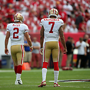 San Francisco 49ers quarterback Colt McCoy (2) and San Francisco 49ers quarterback Colin Kaepernick (7) are seen during an NFL football game between the San Francisco 49ers  and the Tampa Bay Buccaneers on Sunday, December 15, 2013 at Raymond James Stadium in Tampa, Florida.. (Photo/Alex Menendez)