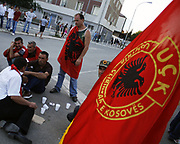 """The war veterans of the Kosovo Liberation Army (KLA) have blocked the main roads in capital Pristina to protest Kosovo government. """"We fought for a better life from what we had in captivity, we are not asking to go in shares of corruption with prime minister nor the president"""" we are war veterans they said, Jul 15, 2009. (Photo/ Vudi Xhymshiti)"""