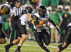 Oct 9, 2015; Huntington, WV, USA; Southern Miss Golden Eagles running back Jalen Richard takes a handoff during the second quarter against the Marshall Thundering Herd at Joan C. Edwards Stadium. Mandatory Credit: Ben Queen-USA TODAY Sports