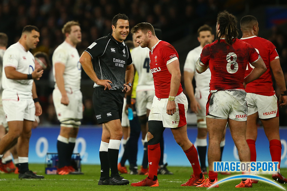 Dan Biggar of Wales walks away after a chat with Referee Ben O'Keeffe  during the Guinness Six Nations between England and Wales at Twickenham Stadium, Saturday, March 7, 2020, in London, United Kingdom. (Mitchell Gunn-ESPA-Images/Image of Sport)