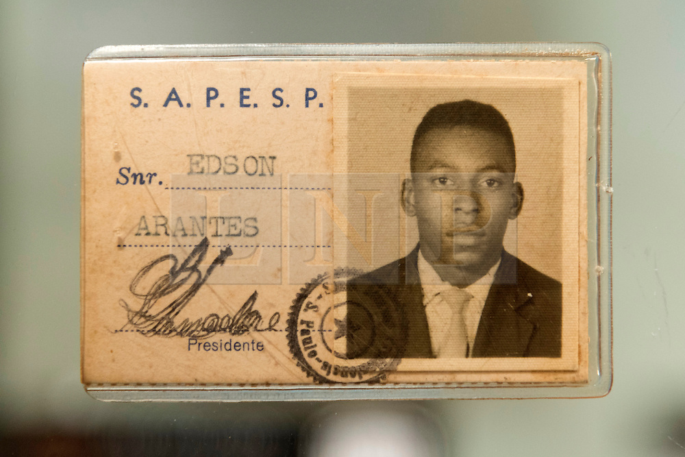 © Licensed to London News Pictures. 01/06/2016. Pele 1960 Sao Paulo Union of Professional athletes credentials with an estimate of £560-£840 from the Pele: The Collection with over 1,500 items of memorabilia owned by Pele for sale on later in June. London, UK. Photo credit: Ray Tang/LNP