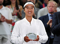 Tennis - 2017 Wimbledon Championships - Week Two, Saturday [Day Twelve]<br /> <br /> Girls Singles Final match<br /> <br /> Ann Li (USA) vs. Claire Liu  (USA) <br /> <br /> Ann Li with her runners up trophy on  Centre court <br /> <br /> COLORSPORT/ANDREW COWIE