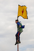 A costumed reveler climbs to the top of a pole to plant a flag during the Faquetigue Courir de Mardi Gras chicken run on Fat Tuesday February 17, 2015 in Eunice, Louisiana. The traditional Cajun Mardi Gras involves costumed revelers competing to catch a live chicken as they move from house to house throughout the rural community.