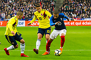 Mateus Uribe (col) and James Rodriguez (col and Kylian Mbappe (fra) during the International Friendly Game football match between France and Colombia on march 23, 2018 at Stade de France in Saint-Denis, France - Photo Pierre Charlier / ProSportsImages / DPPI