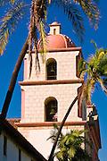 Bell tower and palms at the Santa Barbara Mission (Queen of the missions), Santa Barbara, California
