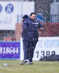 Dundee's manager Paul Hartley after Dundee's Alex Harris scored their first goal.<br /> Dundee 4 v 1 Motherwell, SPFL Premiership played 10/1/2015 at Dundee's home ground Dens Park.
