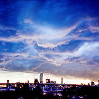 1999 view of Miami's skyline just before a severe summer thunderstorm hits the city.