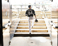 CHICAGO - JULY 03:  Dylan Cease #84 of the Chicago White Sox walks out of the clubhouse prior to making his Major League debut against the Detroit Tigers on July 3, 2019 at Guaranteed Rate Field in Chicago, Illinois.  (Photo by Ron Vesely)  Subject:  Dylan Cease