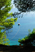 Elevated view of small boat at mooring, Bol, island of Brac, Croatia