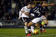 John Fleck of Sheffield United (L) takes on James Meredith of Millwall (R). EFL Skybet championship match, Millwall v Sheffield Utd at The Den in London on Saturday 2nd December 2017.<br /> pic by Steffan Bowen, Andrew Orchard sports photography.