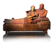 6th century BC Etruscan Sarcophagus known as The Sarcophagus of the Spouses, the in sculpted in clay by the sculptors of Caere, 520-510 BC,  Louvre Museum, Paris.  White Background. To license for Advertising usage contact The Louvre Paris .<br /> <br /> If you prefer to buy from our ALAMY PHOTO LIBRARY  Collection visit : https://www.alamy.com/portfolio/paul-williams-funkystock/vatican-museums-etruscan.html - Type -       Louvre     - into the LOWER SEARCH WITHIN GALLERY box.<br /> <br /> Visit our ETRUSCAN PHOTO COLLECTIONS for more photos to download or buy as wall art prints https://funkystock.photoshelter.com/gallery-collection/Pictures-Images-of-Etruscan-Historic-Sites-Art-Artefacts-Antiquities/C0000GgxRXWVMLyc