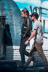 EXCLUSIVE: Dressed in black leather and riding a black motorbike, Bradley Cooper shoots an ad for IWC Scahffhausen in Los Angeles. 21 Sep 2017 Pictured: Bradley Cooper. Photo credit: MEGA TheMegaAgency.com +1 888 505 6342