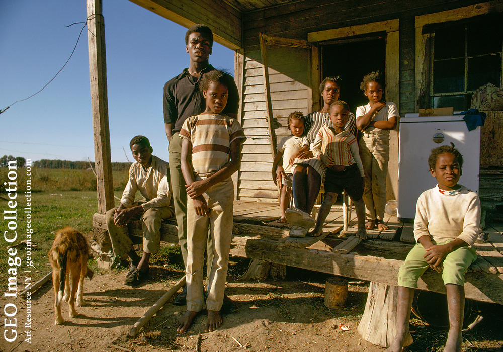 Portrait of a large family of African American farm workers.