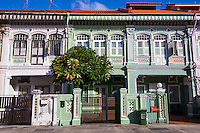A shophouse is a vernacular architectural building type that is unique to Southeast Asia. This hybrid building form characterizes Singapore. Popular colors were indigo and ochre but by the mid 20th century, pastel colors: rose pink, baby blue, light yellow…. became popular and they remain the colours that most people most strongly associate with these buildings.  Many of the best preserved shophouses in Singapore are to be found in the Katong Joo Chiat area with ornate facades and tiles. In the past the Katong area of was made up of coconut plantations and used as a rural weekend retreat by city folk. Katong later developed into a residential area and became populated.
