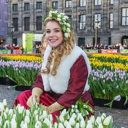NLD/Amsterdam/20190119 - Nationale Tulpendag 2019, doop tulp Quinty Trustfull, Flora Munster, het Tulpenmeisje