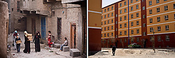 RIGHT: New apartment complex for relocated residents from old city in Kashgar, China.<br /> <br /> LEFT: Residents carry bread through old city in Kashgar, China.