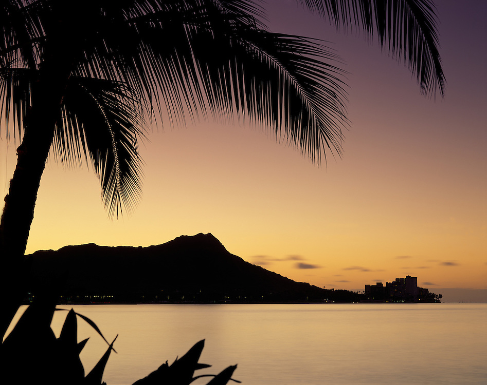 Dawn in Waikiki, view of Diamond Head, palm tree shilhouette in fore ground .