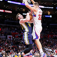 25 November 2015: Utah Jazz forward Gordon Hayward (20) goes to the hoop against Los Angeles Clippers forward Blake Griffin (32) during the Utah Jazz 102-91 victory over the Los Angeles Clippers, at the Staples Center, Los Angeles, California, USA.