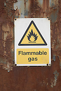 Flammable gas warning sign