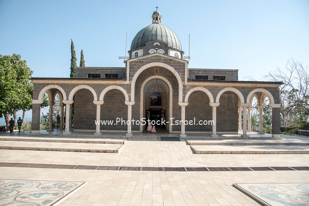 Church of the Beatitudes on the northern coast of the Sea of Galilee in Israel. The traditional spot where Jesus gave the Sermon on the Mount. Galilee, Israel
