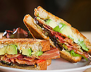 Food photography of a bacon avacado sandwich from Red Onion in Bentonville, Arkansas.