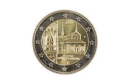09.09.2013, Stuttgart, GER, Euro Muenze, Sonderpraegung 2013, im Bild Sonderprägung 2013 Kloster Maulbronn Baden-Württemberg, Münzprägestätte Stuttgart F, Rückseite, 2-EURO MÜnze, Münzgeld // Euro coin, special edition 2013, Stuttgart, Germany on 2013/09/09. EXPA Pictures © 2013, PhotoCredit: EXPA/ Eibner/ Michael Weber<br /> <br /> ***** ATTENTION - OUT OF GER *****