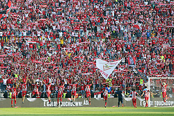 May 20, 2018 - Lisbon, Portugal - Aves' players celebrate with supporters after winning the Portugal Cup Final football match CD Aves vs Sporting CP at the Jamor stadium in Oeiras, outskirts of Lisbon, on May 20, 2015. (Aves won 2-1) (Credit Image: © Pedro Fiuza/NurPhoto via ZUMA Press)